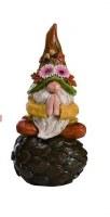 "9"" Polyresin Yoga Gnome on Artichoke"