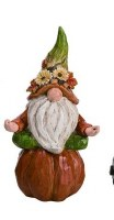"9"" Polyresin Yoga Gnome on Pumpkin"