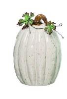 """9"""" White Ceramic Tall Heirlooim Pumpkin"""