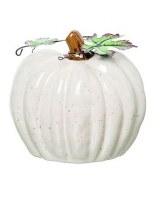 """6"""" White Ceramic Heirlooim Pumpkin"""