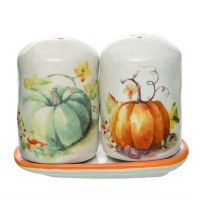 """4"""" White Painted Green and Orange Pumpkins Salt & Pepper Shakers with Tray"""