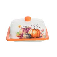 """7"""" White with Orange Accents Painted Pumpkin Butter Dish"""
