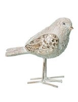"""5"""" Distressed White Polyresin Elegant Carved Standing Bird with Head Turned"""