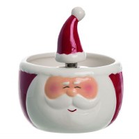 """6"""" Red and White Santa Bowl with Santa Hat Spreader"""