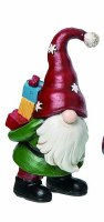 """6"""" Red Polyresin Gnome Holding Gifts on Back"""