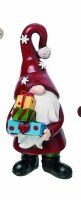 """6"""" Red Polyresin Gnome Holding Three Gifts"""