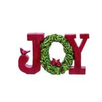 "7"" Red and Green Polyresin Cardinal Wreath Joy Sign"