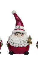 """8"""" Red Polyresin Santa in Glasses Holding a Bell"""