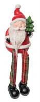 """5"""" Red Plaid Fuzzy Beard Shelf Sitter Santa With Tree"""