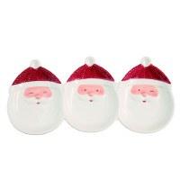 "6"" x 12"" Santa Faces Triple Compartment Serving Tray"