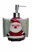 "7"" Red Santa Soap Dispenser with Soap Dish"