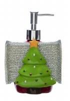 """7"""" Green Christmas Tree Soap Dispenser with Sponge Holder"""