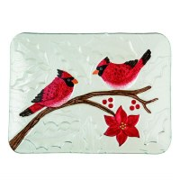 """9"""" x 12"""" Cardinal Couple Fused Glass Platter"""