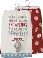 """Set of 2 28"""" Square White, Blue and Red Snowflakes Seashells Kitchen Towels"""