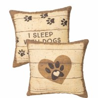 """12"""" Square I Sleep With Dogs Rustic Paw Print Pillow"""