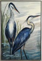 """62"""" x 42"""" Two Blue Birds Canvas in Gray Frame"""