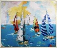 """53"""" x 63"""" Bubllegum Beach IX Canvas in White Frame"""