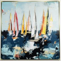"""49"""" Square Summer Cruising Canvas in White Frame"""