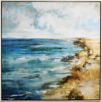 """56"""" Square Low Tide Canvas in White Frame"""