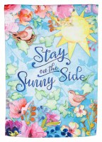 """18"""" x 13"""" Mini Stay On The Sunny Side Spring Flowers and Birds Suede Garden Flag"""
