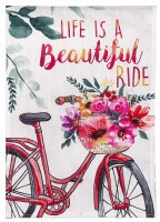 """18"""" x 13"""" Mini Life Is A Beautiful Ride Floral Bicycle Garden Flag"""