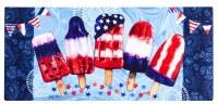 "10"" x 22"" Red, White, and Blue Patriotic Popsicles Sassafras Doormat"
