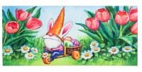 """10"""" x 22"""" Carrot Hat Gnome in Tulips Sassafras Doormat"""