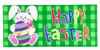 """10"""" x 22"""" Happy Easter Bunny with Egg Sassafras Doormat"""