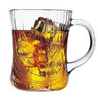 10 oz. Glass Magnolia Handled Mug