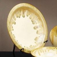 "18"" Round Beige Platter with Stand"