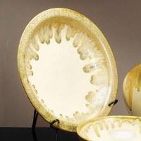"""18"""" Round Beige Platter with Stand"""