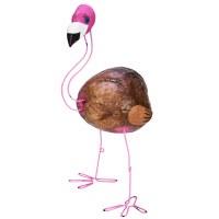 "18"" Pink Metal Wire Coconut Flamingo"