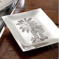 "6"" Square Aluminum Palm Tree Canape Tray"
