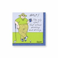 "5"" Square Drinking & Driving Golf Beverage Napkins"