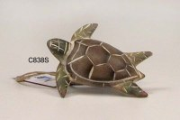 "3"" Green and Brown Carved Wood Sea Turtle Napkin Ring"