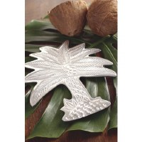 "10"" Aluminum Textured Metal Palm Tree Trivet"
