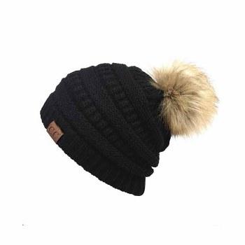 Cheveux CC Beanie w/Pom Black HAT-43-BLACK