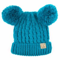 Cheveux Double Pom Beanie Teal KIDS-24TEAL