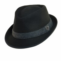 Dorfman Pacific Fedora Wool Blend Black Medium MW141 BLK M