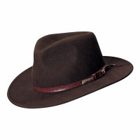 Dorfman Pacific Indiana Jones Wool Felt Outback W/ Leather Band Small IJ555-SBRNS