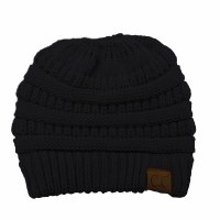 Cheveux Knitted Beanie w/cc Black HAT-20ABLK