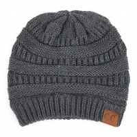 Cheveux Knitted Beanie w/cc Grey HAT-20AGRY