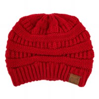 Cheveux Knitted Beanie w/cc Red HAT-20ARED