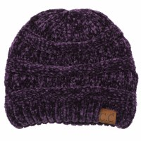 Cheveux Ribbed Chenille Hat Dark Purple HAT-30DKPP