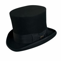 "Dorfman Pacific Top Hat 7"" Crown Black Medium WF567BLKM"