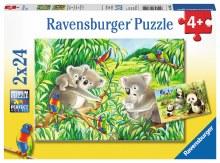 2 Casse-têtes, 24 mcx - Mignons koalas et pandas