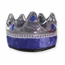 Couronne de roi argenté et bleue