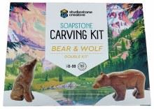 Sculpture de pierre à savon double - Bear & Wolf