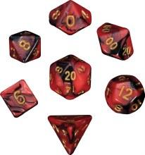 Mini Dés Polyhedriques - Rouge/Noir