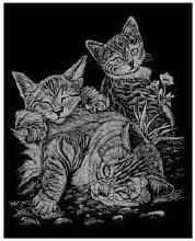 Gravure argent - Chat tigre et chattons